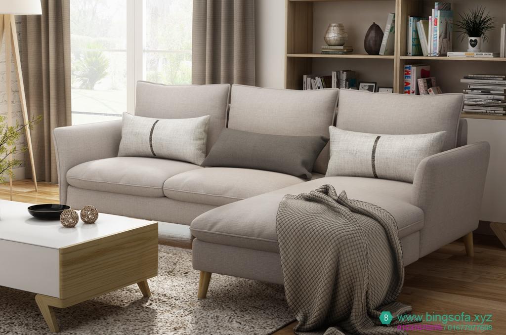 Sofa vải góc l gia đình