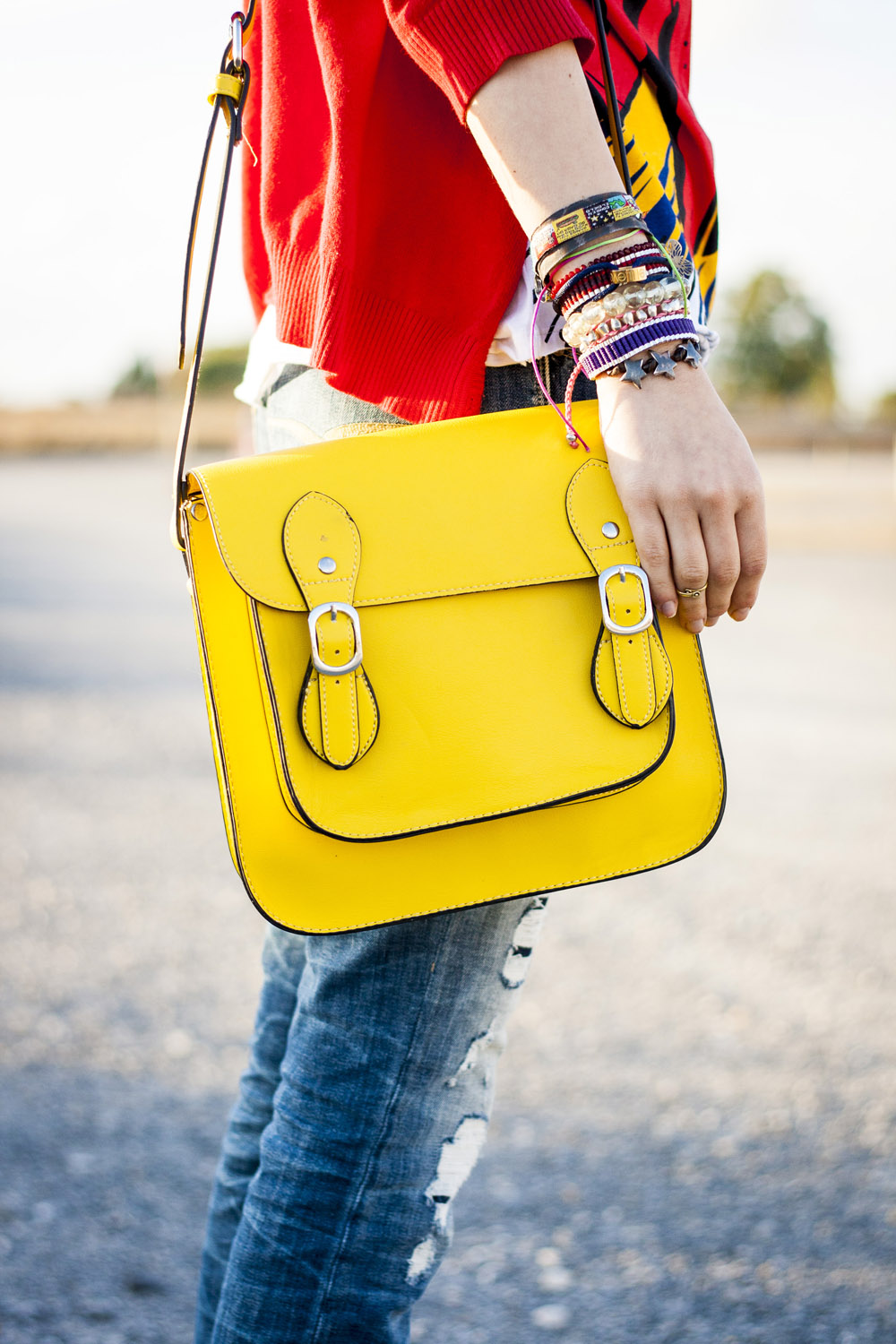 sorteo satchel bag amarillo