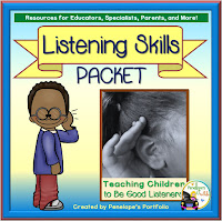 A listening skills teaching packet with printables, worksheets, and posters