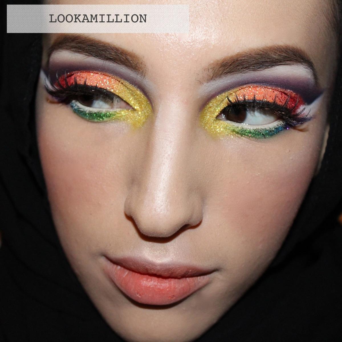 LOOKAMILLION : Rainbow glitter makeup look