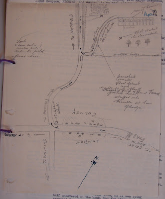 MI5 sketch map showing location of Richter's landing site and equipment stashes. (National Archives - KV 2/30)