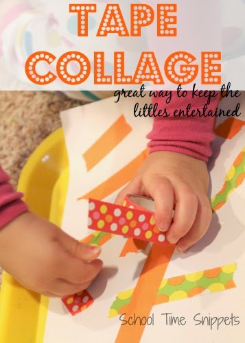 Need a way to keep young kiddos occupied?  Make a simple Tape Collage Art Activity
