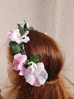 Patouche Chapeaux Couronne de fleurs de soie pois de senteur blanc et rose clair
