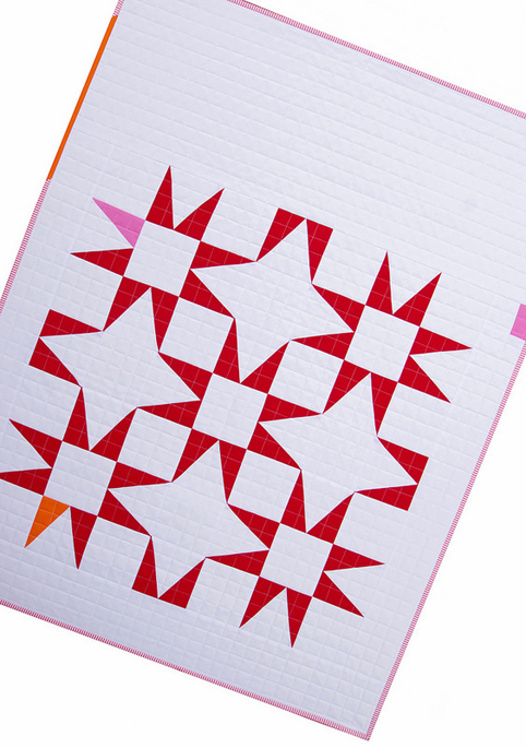 Modern Red and White Stars Baby Quilt
