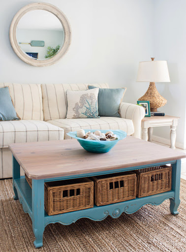 Beach Condo Living Room Decor Idea Blue Table