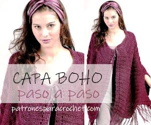Capa estilo boho para tejer a crochet con patrones en español