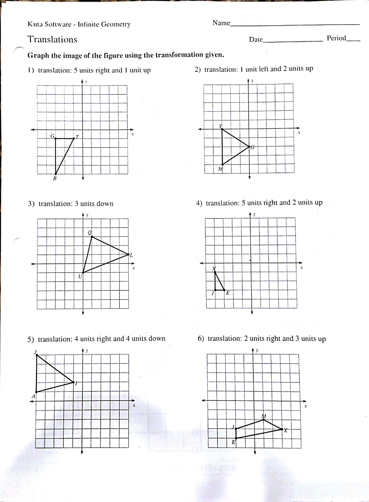 Rotations Worksheet 8th Grade