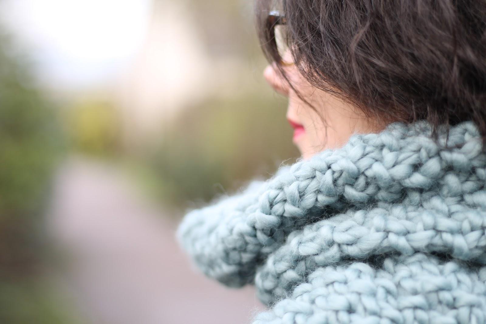 les gommettes de melo wak we are knitters weareknitters laine wool tricot écharpe faire soi meme home made hand fait maison fait main fiere hiver look tenue ootd outfit