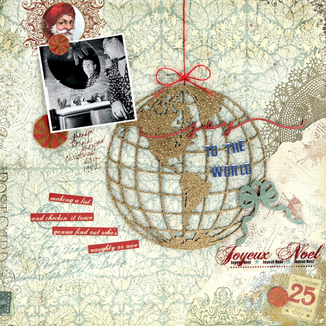 Joy to the World Christmas Scrapbook Layout