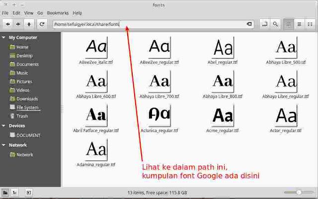 Path Kumpulan Koleksi Google Fonts