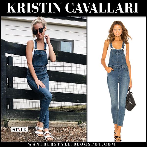 Kristin Cavallari in denim overalls free people fall fashion september 1