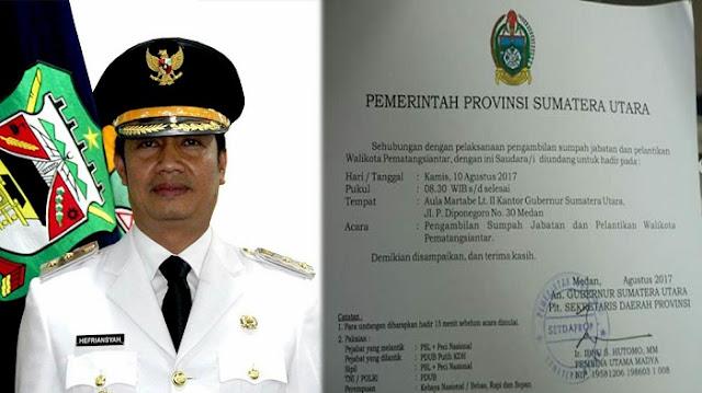Hefriansyah Dikabarkan Akan DIlantik Sebagai Walikota Siantar Definitif Kamis (10/8)