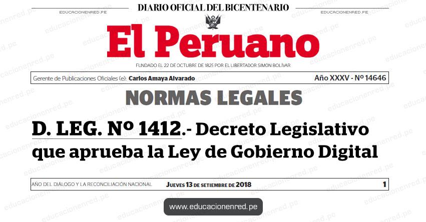 D. LEG. Nº 1412 - Decreto Legislativo que aprueba la Ley de Gobierno Digital