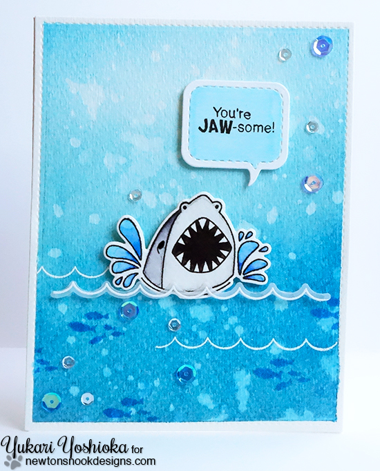 Shark Week Day 3 - Shark Card by Yukari | Shark Bites Stamp set and Die Set by Newton's Nook Designs #newtonsnook