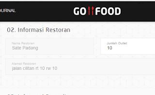 mengisi informasi restoran di go food