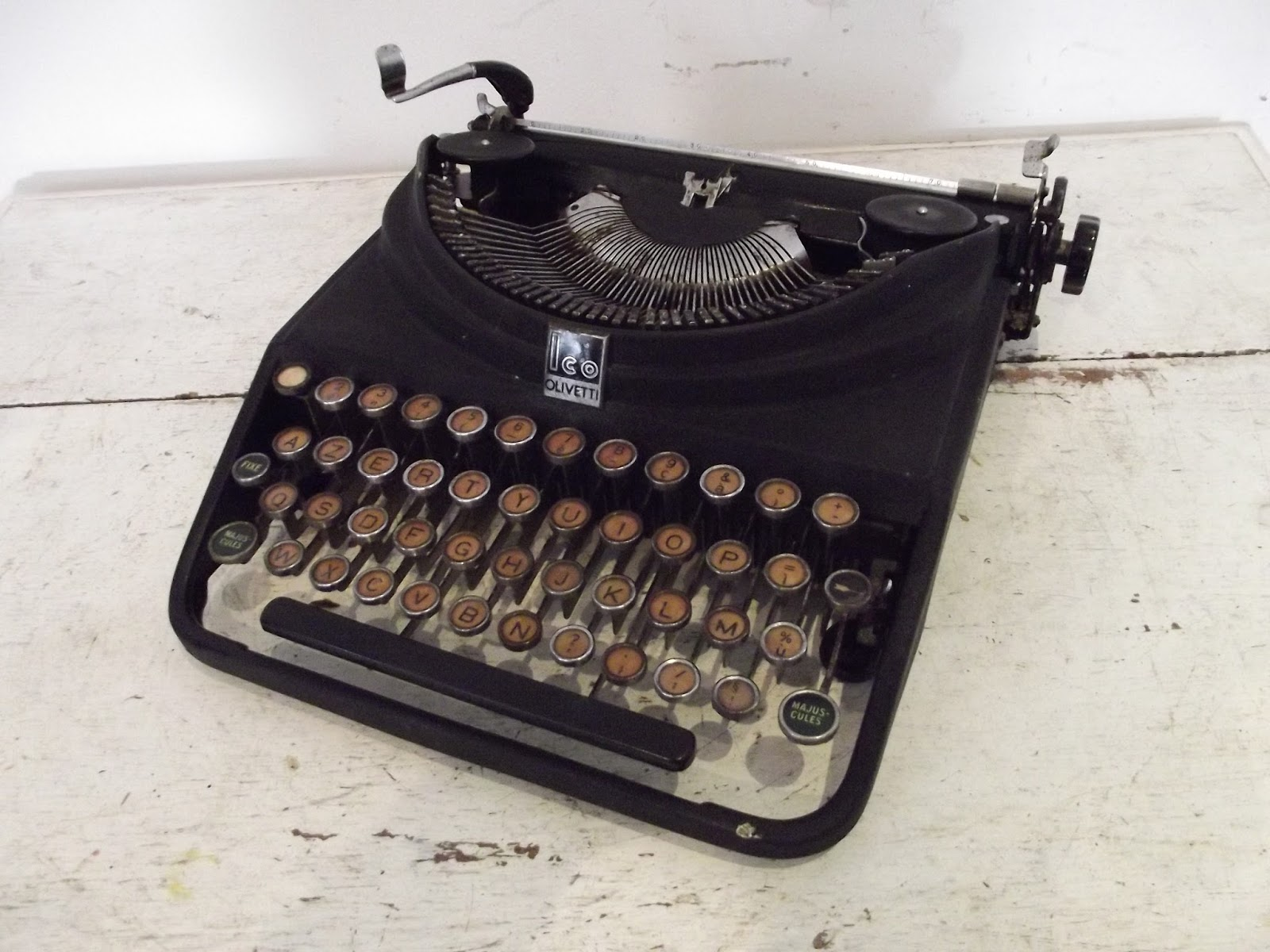 rare machine a crire vintage olivetti ico mp1 1934 typewriter original. Black Bedroom Furniture Sets. Home Design Ideas
