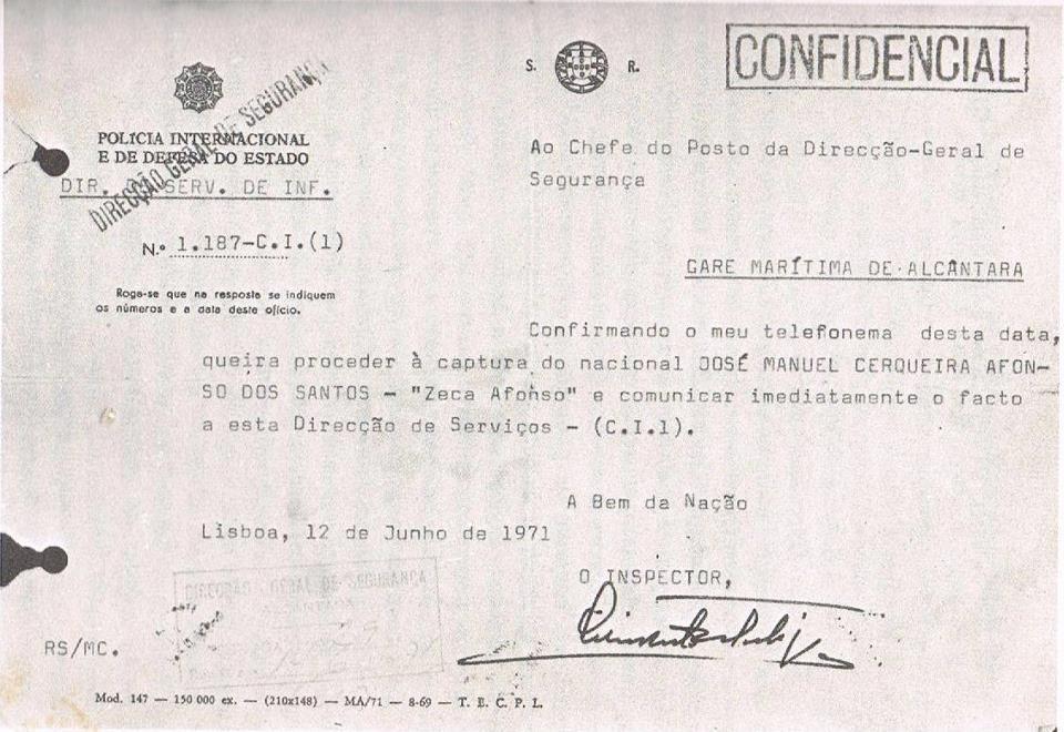 Ofício da PIDE determinando a prisão de José Afonso