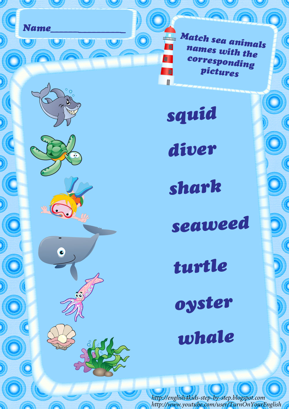 Image of: Kids Ocean Animals Vocabulary Matching Worksheet English For Kids Step By Step Ocean Animals Worksheets