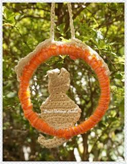 crochet cat bookmark, crochet cat hanging