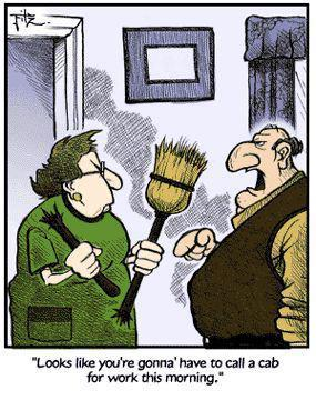 Joke Marriage Broom Broken Cab Cartoon