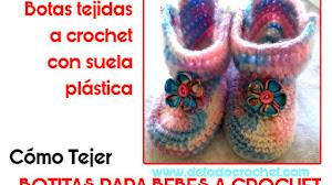 Cómo tejer botas para bebes o nenas con suela plástica / tutorial