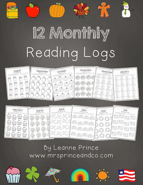 http://www.teacherspayteachers.com/Product/A-Year-of-Monthly-Reading-Logs-901034