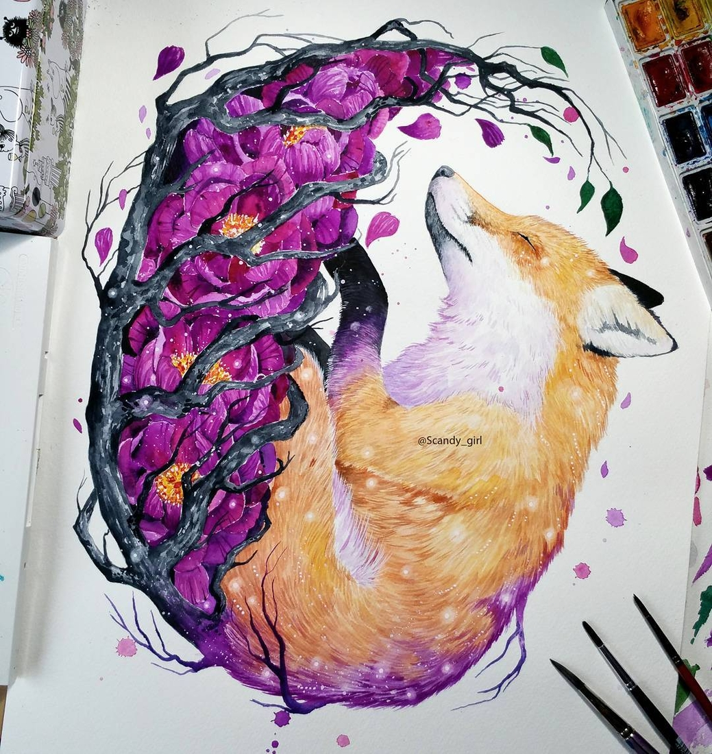 06-The-Fox-Jonna-Lamminaho-Mixed-Media-Animal-Paintings-www-designstack-co