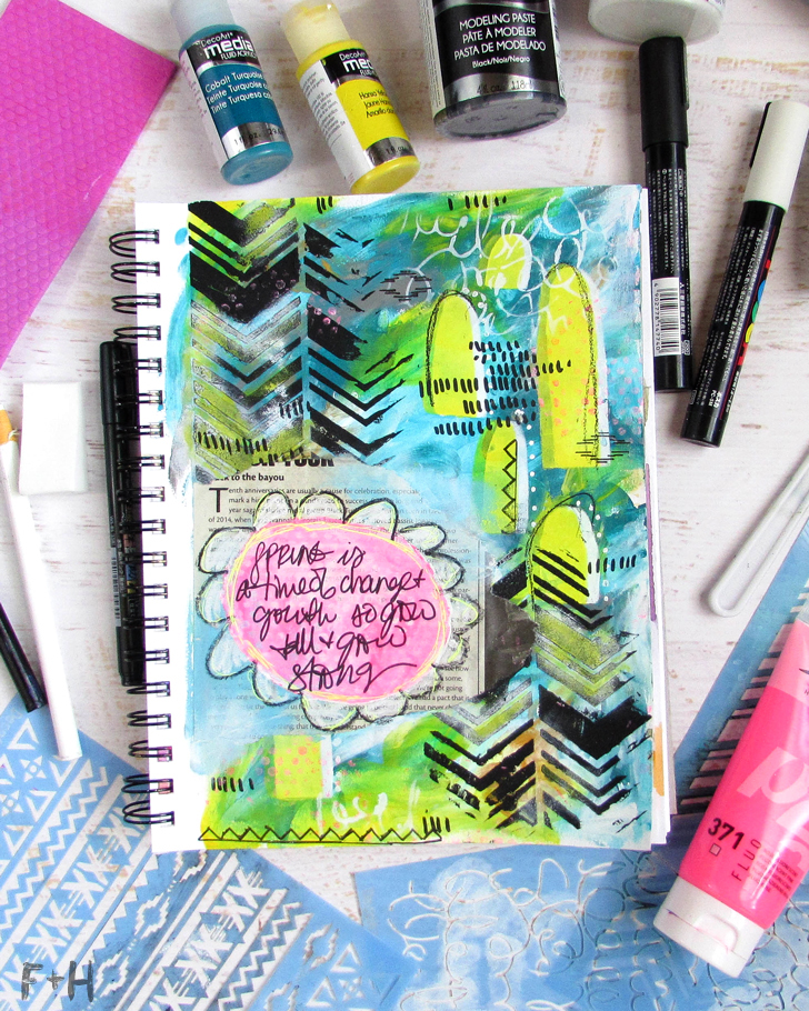 Spring Art Journal Tutorial with DecoArt - Fox + Hazel