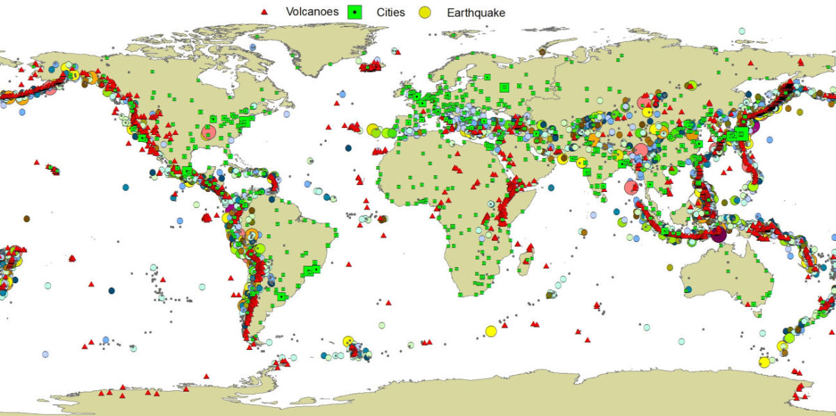 map volcanoes earthquakes