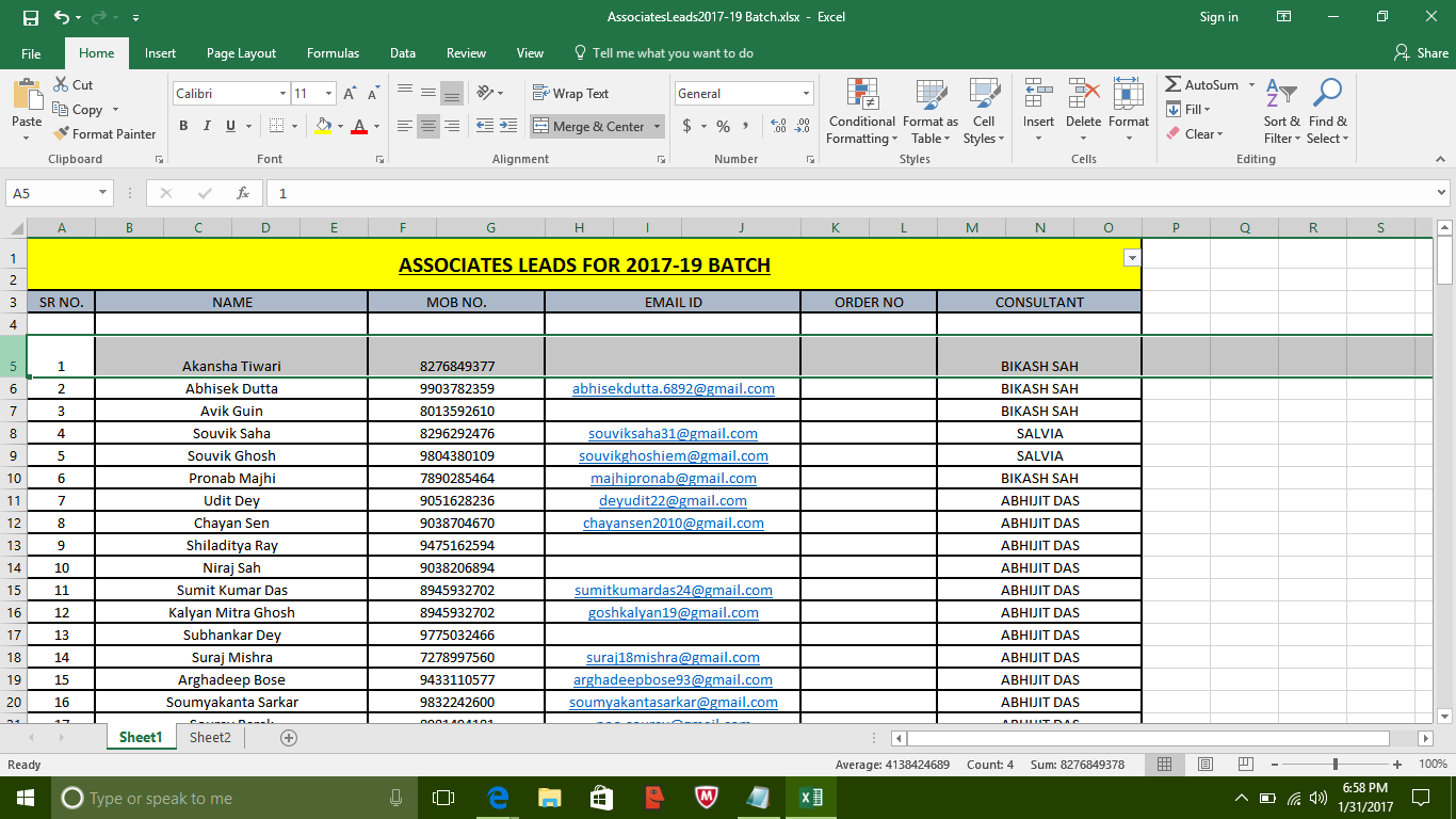 Digital India Beginner Ms Excel 2o16 Tutorial Modifications In Rows Amp Columns
