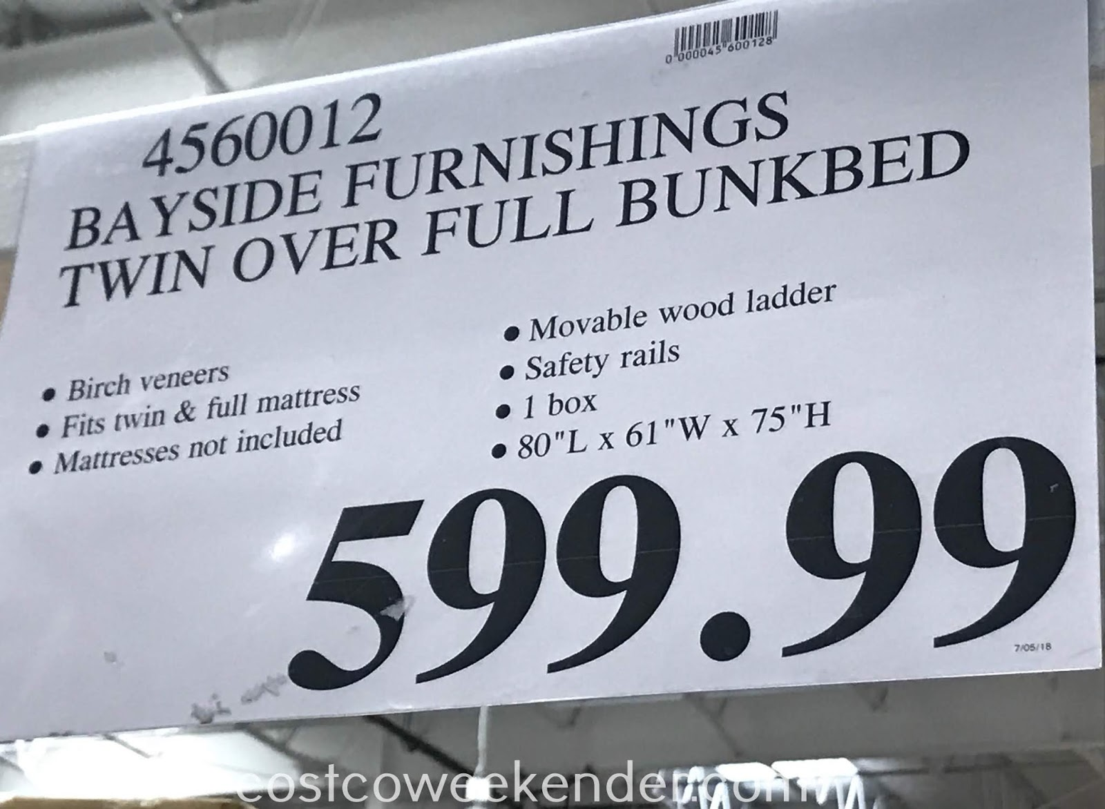 Deal for the Bayside Furnishings Twin Over Full Bunk Bed at Costco