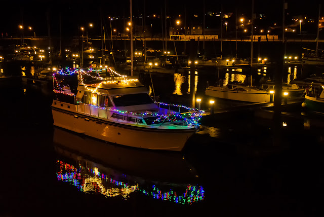 Photo of Ravensdale's colourful Christmas lights reflected in the still water