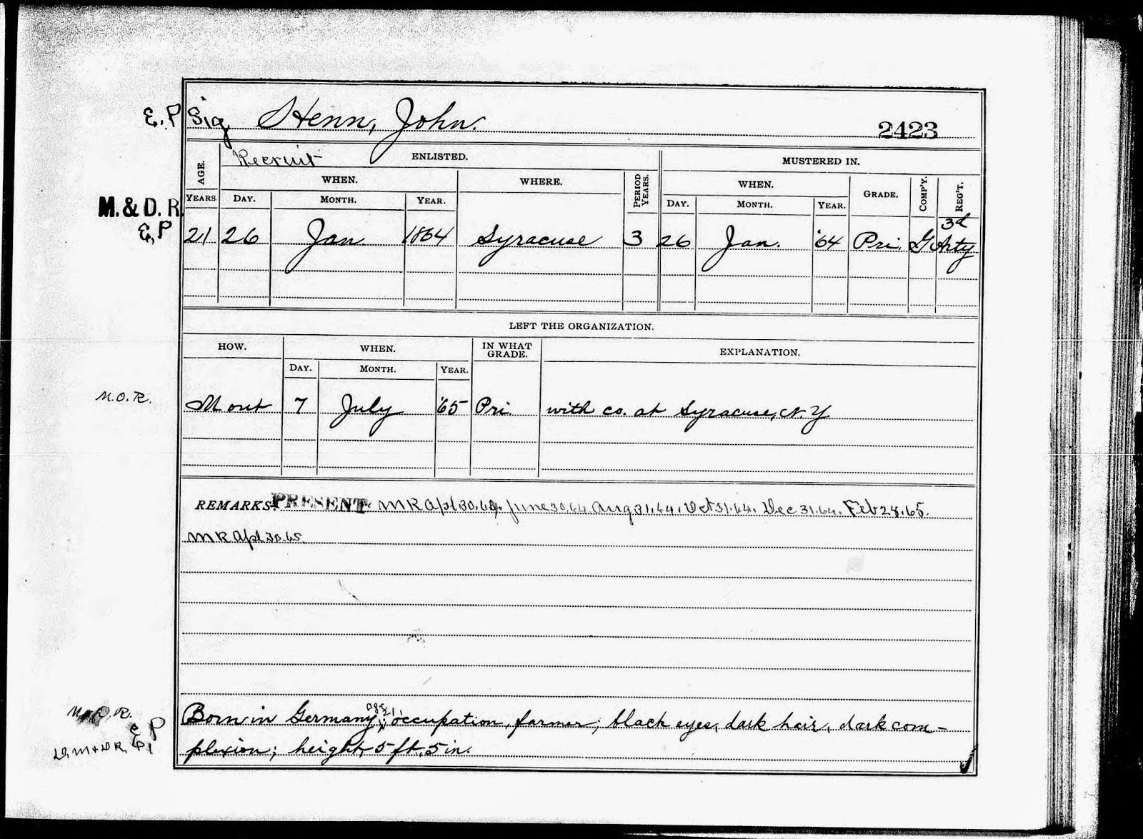 Climbing My Family Tree: John Henn New York, Civil War Abstract, Muster Roll