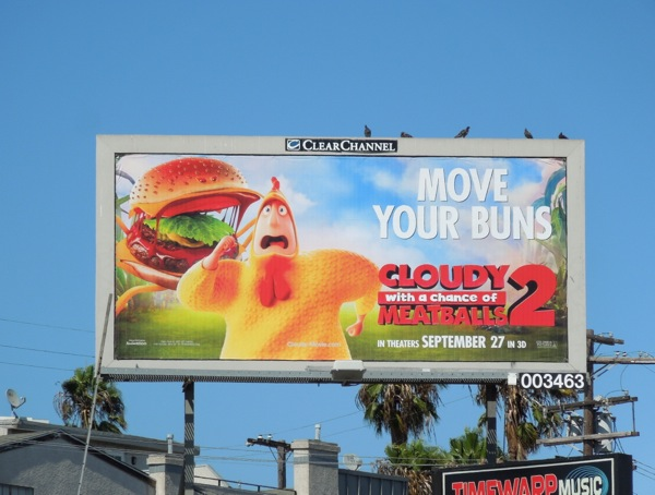Cloudy Chance of Meatballs 2 Move your buns billboard