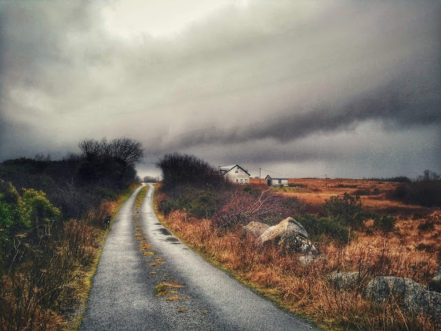 Typical Connemara Landscape, moody weather and dark sky