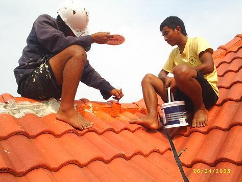 vệ sinh hoàn thiện mái ngói