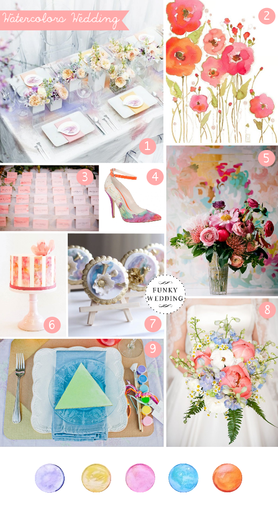 Watercolors wedding, matrimonio a tema acquerelli, wedding inspiration boards