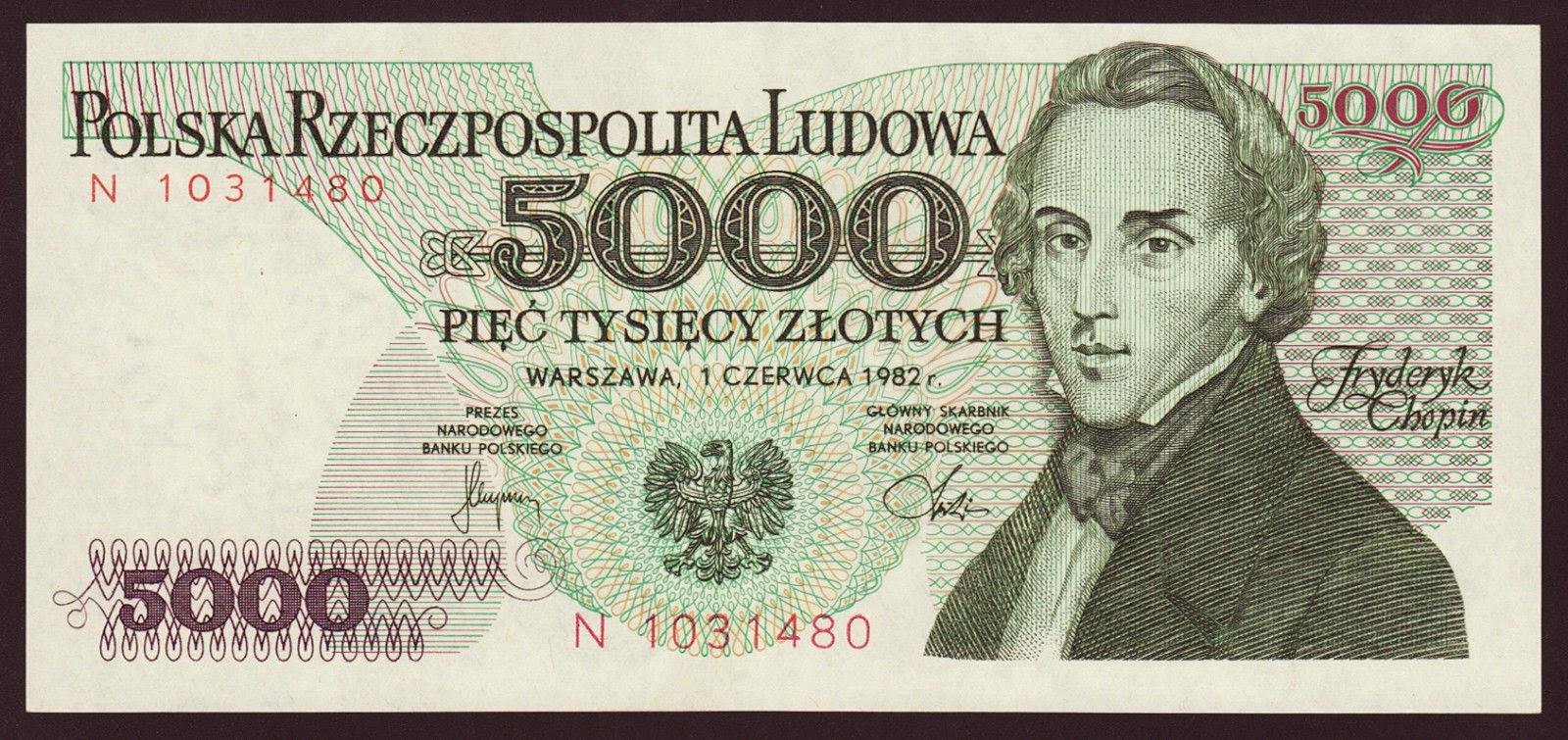 Poland Banknotes 5000 Zloty banknote 1982 Frederic Chopin