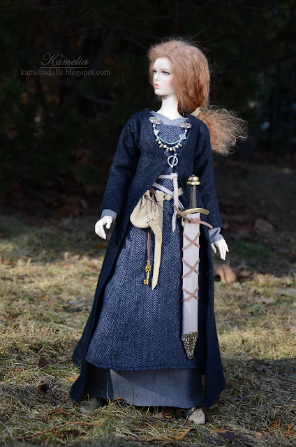 Wool dress and coat for bjd doll