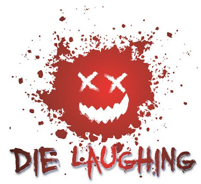 "The Die Laughing logo with a smiley face in spattered red color with x's for eyes and the text ""Die Laughing"""