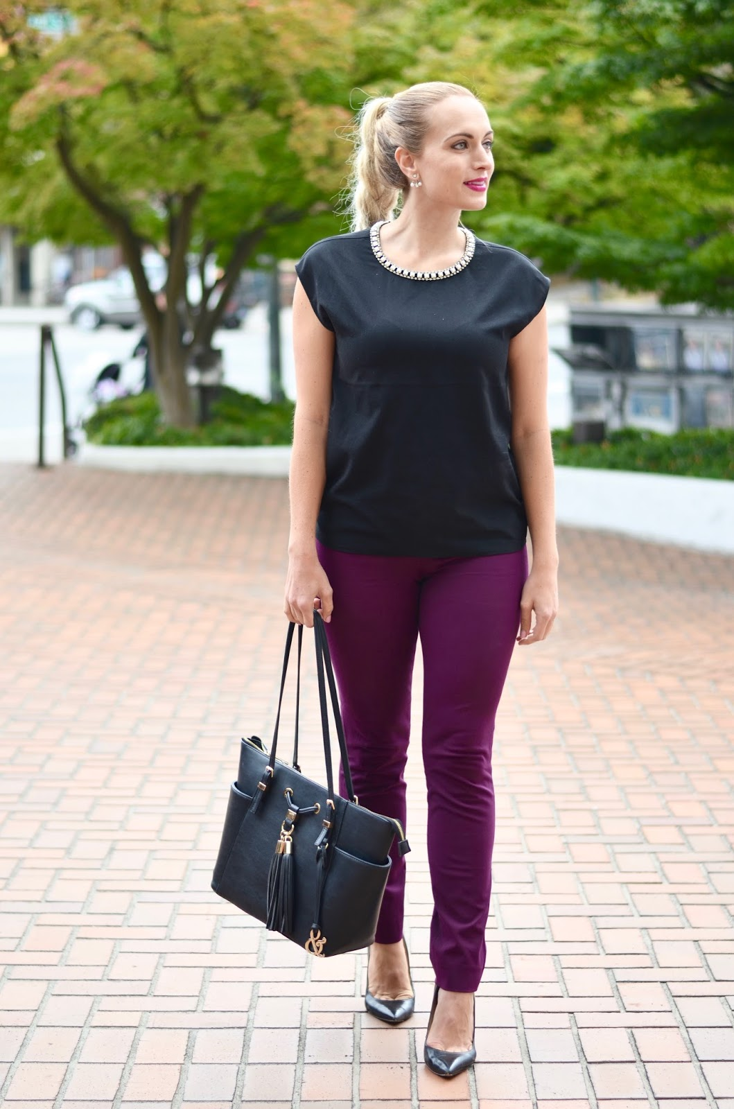 how to style burgundy pants