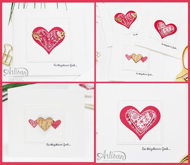 Mini Karten mit Herzen zum Valentinstag mit Stampin up