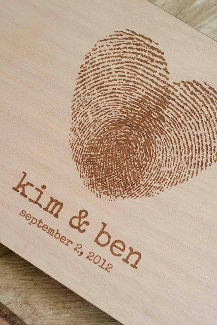 ♥ ♫ ♥ Custom wedding guest book wood rustic wedding guest book album bridal shower engagement anniversary - Fingerprint Heart. $40,00, via Etsy. Check out Dieting Digest  ♥ ♫ ♥
