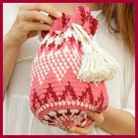 Mochila jacquard a crochet