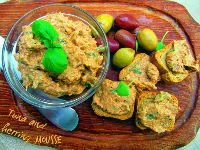Tuna and herring mousse by Laka kuharica: spread savory mousse on toast or crackers.