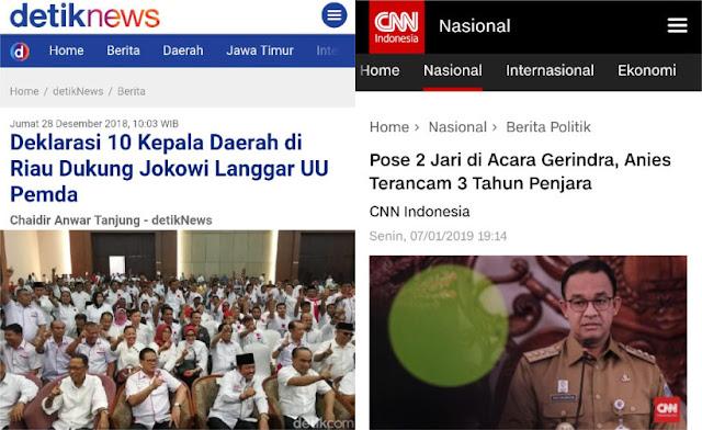 Deklarasi 10 Kepala Daerah Dukung Jokowi Cuma Ditegur, Anies Pose 2 Jari Terancam 3 Tahun Penjara