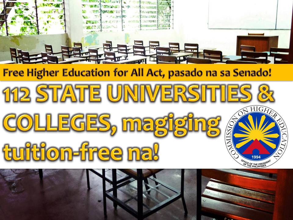 Students with difficulty finishing their studies have a chance now to continue pursuing their dreams after Senate passed a bill that will guarantee a full tuition subsidy for students in state universities and colleges (SUCs).