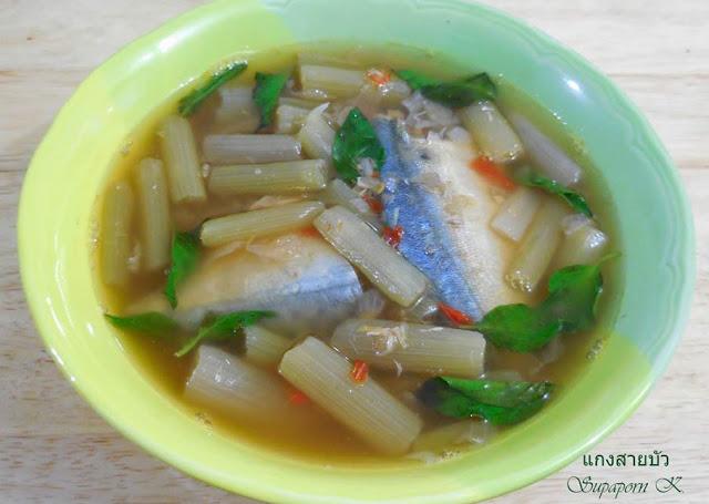 สูตรแกงสายบัวใส่ปลาทูนึ่ง