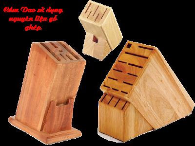 cắm dao làm từ gỗ ghép