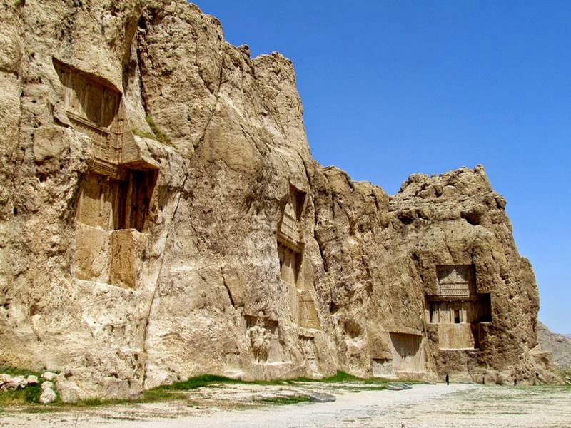Naqsh-e Rostam or The Throne of Rustam is an ancient burial site for Persian Kings.